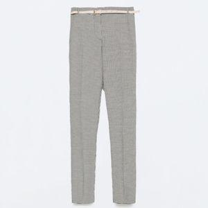 Zara Light Gray Mini Check Trousers